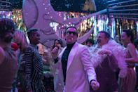 """<p>Netflix's mini-series <em>Halston</em> follows the rise and fall of the <a href=""""https://www.menshealth.com/entertainment/a36385815/halston-netflix-true-story/"""" rel=""""nofollow noopener"""" target=""""_blank"""" data-ylk=""""slk:titular American fashion designer"""" class=""""link rapid-noclick-resp"""">titular American fashion designer</a>. It's just one of the productions from <a href=""""https://www.hollywoodreporter.com/tv/tv-features/tvs-first-300m-man-inside-netflixs-blockbuster-ryan-murphy-deal-1099145/"""" rel=""""nofollow noopener"""" target=""""_blank"""" data-ylk=""""slk:Ryan Murphy's $300 million dollar deal"""" class=""""link rapid-noclick-resp"""">Ryan Murphy's $300 million dollar deal</a> with the streaming giant, and the five episodes are just as flashy as you'd expect from the <em><a href=""""https://www.menshealth.com/entertainment/a29123061/american-horror-story-1984-soundtrack/"""" rel=""""nofollow noopener"""" target=""""_blank"""" data-ylk=""""slk:American Horror Story"""" class=""""link rapid-noclick-resp"""">American Horror Story</a></em> and <em><a href=""""https://www.menshealth.com/entertainment/a32904130/the-politician-season-3-release-date-cast-spoilers/"""" rel=""""nofollow noopener"""" target=""""_blank"""" data-ylk=""""slk:The Politician"""" class=""""link rapid-noclick-resp"""">The Politician</a></em> creator. </p><p>Based on the Stephen Gaines biography<em> <em><a href=""""https://www.amazon.com/Simply-Halston-Steven-Gaines/dp/0399136126?tag=syn-yahoo-20&ascsubtag=%5Bartid%7C2139.g.36480308%5Bsrc%7Cyahoo-us"""" rel=""""nofollow noopener"""" target=""""_blank"""" data-ylk=""""slk:Simply Halston"""" class=""""link rapid-noclick-resp"""">Simply Halston</a></em>, </em>the series begins after the designer's initial claim to fame—designing First Lady Jackie O. Kennedy's pillbox hat featured at John F. Kennedy's inauguration. The designer works to put himself back in the limelight and succeeds, with ready-to-wear fashion, <a href=""""https://www.cnn.com/style/article/halston-american-fashion/index.html"""" rel=""""nofollow noopener"""" target=""""_blank"""" data-ylk=""""slk:a $1 million deal with """