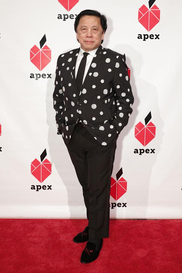 <p>John C. Jay is the president of global creative at Fast Retailing. He wore a statement polka-dot blazer at the 26th annnual Apex for Youth gala, where he was honored with the 2018 Inspiration Award. (Photo: BFA/Courtesy of Apex for Youth) </p>