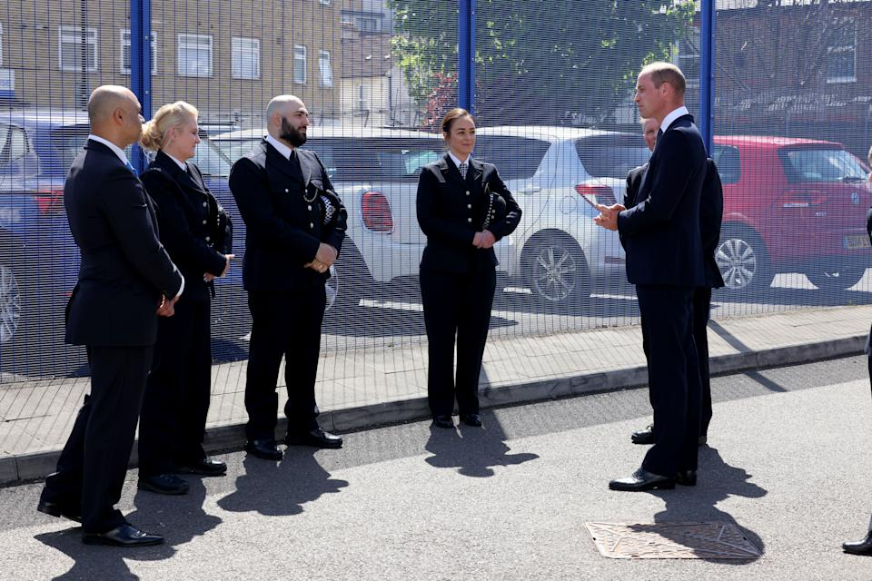 The Duke of Cambridge (right) during a visit to Croydon Custody Centre. Picture date: Wednesday May 12, 2021.