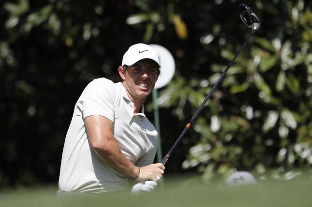 Rory McIlroy of Northern Ireland hits off the 11th tee during the second day of practice for the 2018 Masters golf tournament at Augusta National Golf Club in Augusta, Georgia, U.S. April 3, 2018. REUTERS/Jonathan Ernst