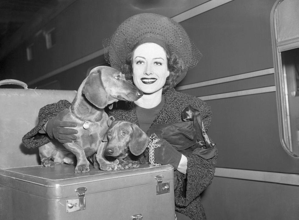<p>Actress Joan Crawford is seen arriving in style as she disembarks the train in New York City. Crawford's pair of Dachshunds, Stinky and Poopshin, joined her on the journey. </p>