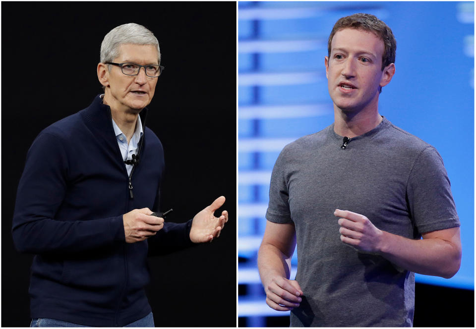 """FILE - In this combo of file photos, Apple CEO Tim Cook speaks on the new Apple campus on Sept. 12, 2017, in Cupertino, Calif., left, and Facebook CEO Mark Zuckerberg speaks at the F8 Facebook Developer Conference on April 12, 2016, in San Francisco, right. Facebook is again pushing back on new Apple privacy rules for its mobile devices, this time saying the social media giant is standing up for small businesses in full page newspaper ads. In ads that ran in The New York Times, The Wall Street Journal and other national newspapers, Facebook said Apple's new rules """"limit businesses ability to run personalized ads and reach their customers effectively.""""  (AP Photo/Eric Risberg, File)"""