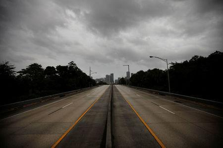 An empty highway is seen in downtown Miami before the arrival of Hurricane Irma to south Florida, September 9, 2017. REUTERS/Carlos Barria