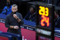 Chicago Bulls coach Billy Donovan walks along the bench area during the second half of the team's NBA basketball game against the New Orleans Pelicans in New Orleans, Wednesday, March 3, 2021. (AP Photo/Gerald Herbert)