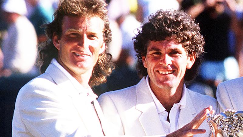 Peter McNamara and Paul McNamee after one of Australia's successful Davis Cup campaigns, in which they played doubles. (Mandatory Credit: Tony Feder/ALLSPORT)