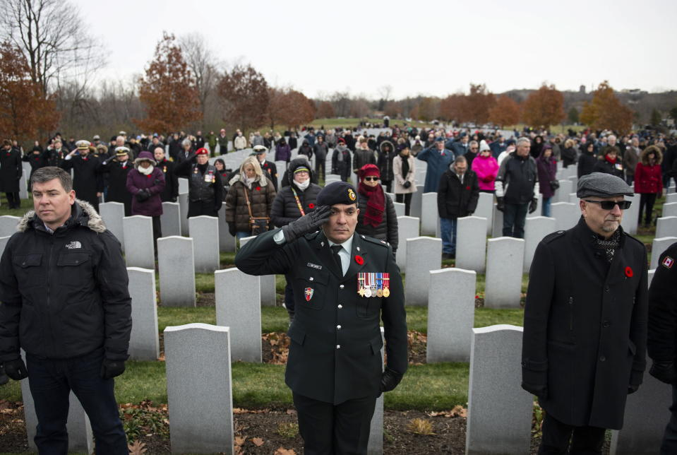 A member of the Canadian Forces salutes during a Remembrance Day ceremony at the National Military Cemetery at Beechwood Cemetery in Ottawa, on Monday, Nov. 11, 2019. THE CANADIAN PRESS/Justin Tang