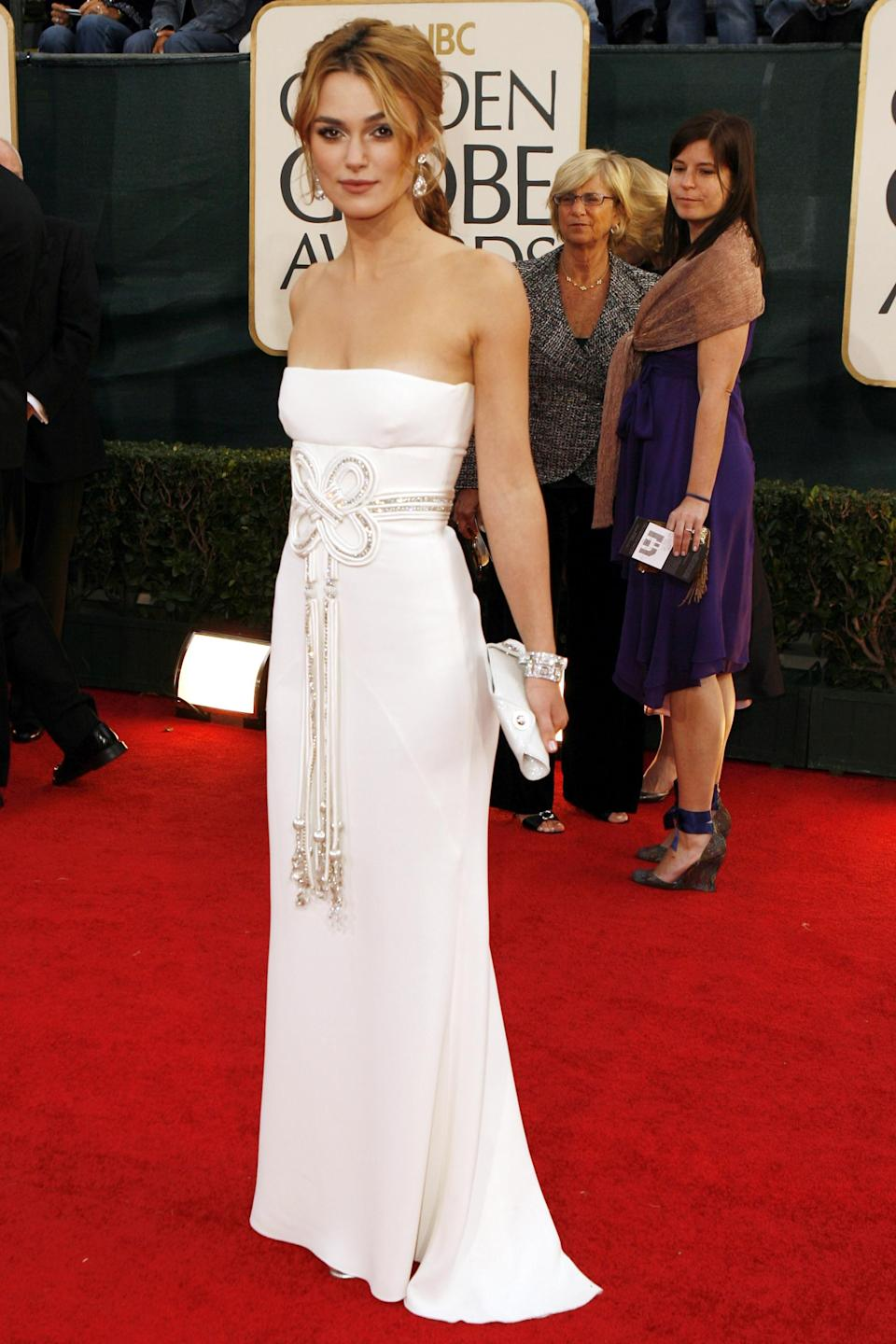 """<strong><h2>2006</h2></strong><br>Looking back on 2006 style, it hardly seems possible that Keira Knightley's strapless Valentino dress came out of the same year as chunky belts and low-rise cargo pants.<br><br><em>Keira Knightley in Valentino.</em><span class=""""copyright"""">Photo: Jeff Vespa/WireImage.</span>"""