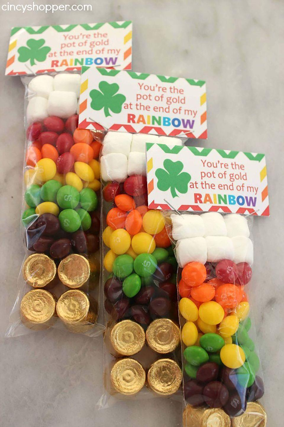 """<p>These super sweet bags make the perfect <a href=""""https://www.womansday.com/food-recipes/food-drinks/g1768/st-patricks-day-recipes/"""" rel=""""nofollow noopener"""" target=""""_blank"""" data-ylk=""""slk:party favor"""" class=""""link rapid-noclick-resp"""">party favor</a> for a school celebration. The labels are printable, so the only thing you have to worry about is getting the plastic bags and candy.</p><p><em>Get the tutorial at <a href=""""http://cincyshopper.com/st-patricks-day-rainbow-skittles-treat-bags/"""" rel=""""nofollow noopener"""" target=""""_blank"""" data-ylk=""""slk:Cincy Shopper"""" class=""""link rapid-noclick-resp"""">Cincy Shopper</a>.</em> </p>"""