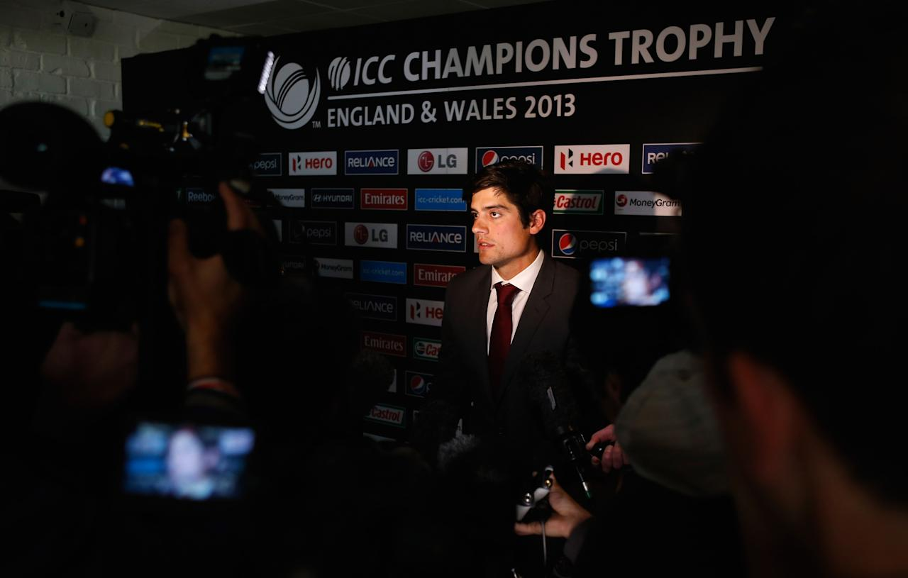 LONDON, ENGLAND - OCTOBER 17:  Alastair Cook of England talks to the press during the launch of the ICC Champions Trophy 2013 which is to be held in June 2013 in England and Wales, at Millbank Tower on October 17, 2012 in London, England.  (Photo by Tom Shaw/Getty Images)