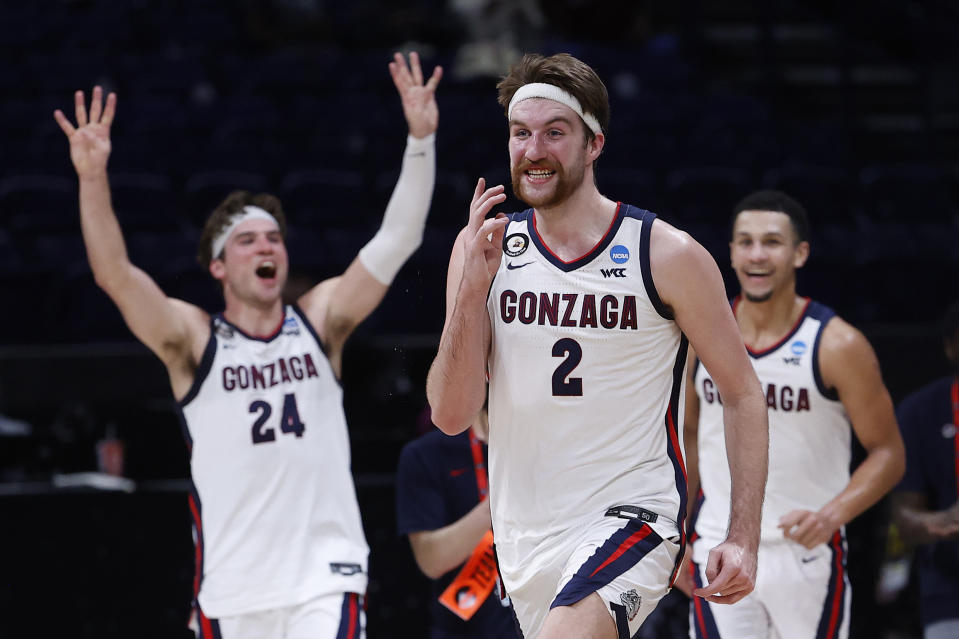 Gonzaga's Drew Timme (2) celebrates defeating USC in the Elite Eight of the 2021 NCAA men's basketball tournament on March 30. (Jamie Squire/Getty Images)