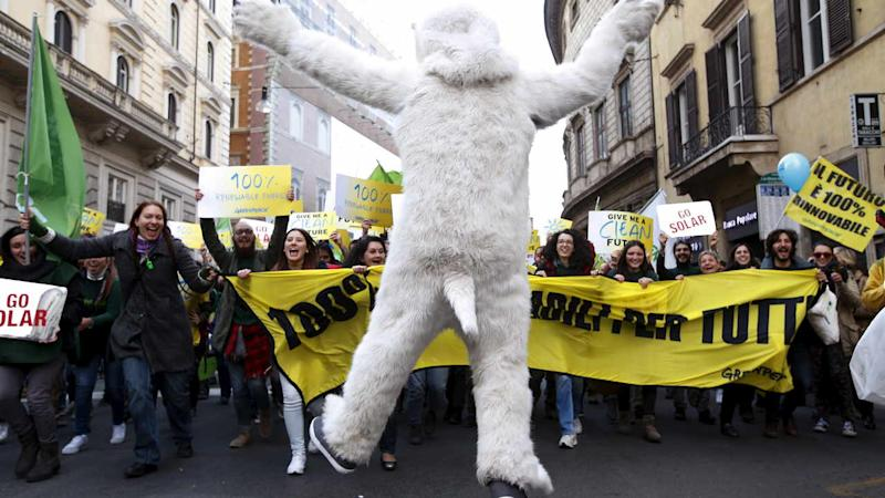 A protester dressed as a bear takes part in a rally held the day before the start of the 2015 Paris World Climate Change Conference, known as the COP21 summit, in Rome, Italy, 29 November 2015. Reuters
