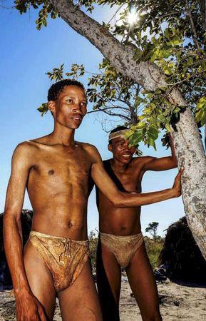 Handout of two San bushmen in Tsumkwe, Namibia