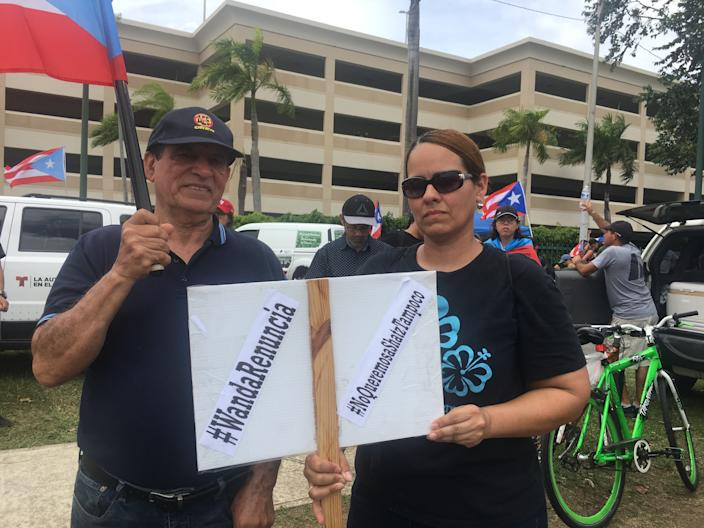 Miriam Melendez, a school teacher in Puerto Rico, and her father Angel Melendez were among the protesters demanding new governor Wanda Vazquez resign even before assuming the office.