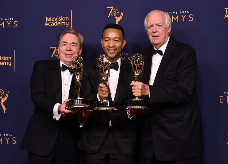 "Andrew Lloyd Webber, John Legend and Tim Rice earned EGOT status with their Emmy win for ""Jesus Christ Superstar Live in Concert"" -- each now has an Emmy, Grammy, Oscar and Tony"