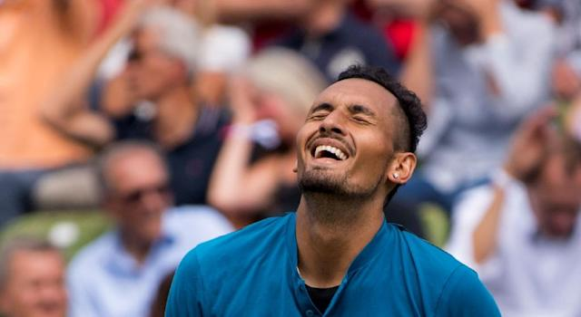 """Australia's Nick Kyrgios reacts after a point against Maximilian Marterer as he toughed out a three-set win in what he called """"a terrible match"""" (AFP Photo/Marijan Murat)"""