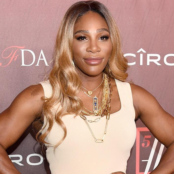 """<p>Serena Williams has played with blonde hair in the past, but we're especially loving <a href=""""https://www.allure.com/story/serena-williams-blonde-hair-color-loose-waves?mbid=synd_yahoo_rss"""" rel=""""nofollow noopener"""" target=""""_blank"""" data-ylk=""""slk:this honey shade"""" class=""""link rapid-noclick-resp"""">this honey shade</a> on her. The warm color works beautifully with her skin tone, giving her that all-over G.O.A.T. glow. </p> <p>""""The color [at the root] breaks up the overall look, which is key,"""" explains Reid. """"The depth stops at her eyebrows which are a key feature and draws you to her eyes and face."""" The honey hue is soft and natural and works with her complexion due to the well-thought-through color placement.</p>"""