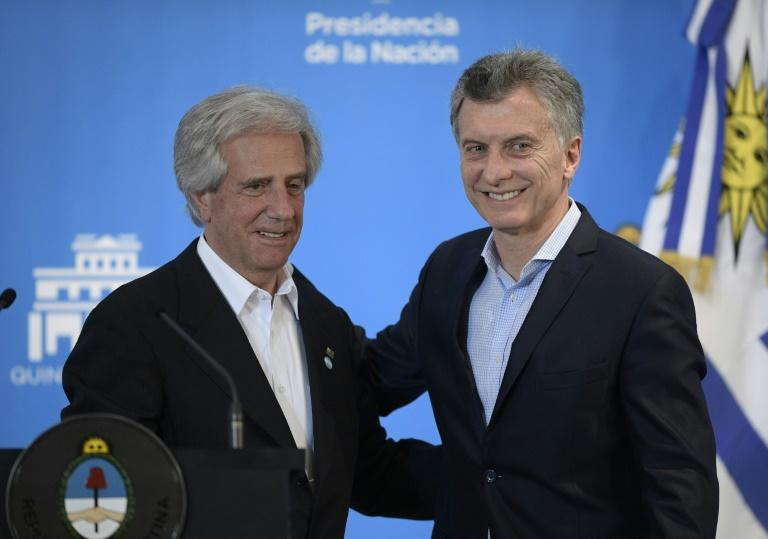 Uruguay and Argentina will officially launch their joint bid for the 2030 football World Cup next week at a ceremony involving the countries' two leaders, Uruguay's President Tabare Vazquez (L) and Argentina's counterpart Mauricio Macri