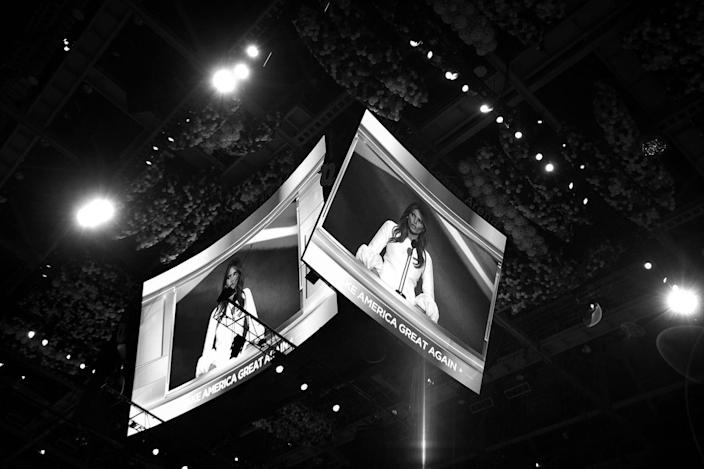<p>Melania Trump speaks at the Republican National Convention on Monday. (Photo: Khue Bui for Yahoo News)</p>