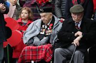 Elsewhere, veterans attended a Remembrance Day service at the Stone of Remembrance in Edinburgh (Picture: PA)