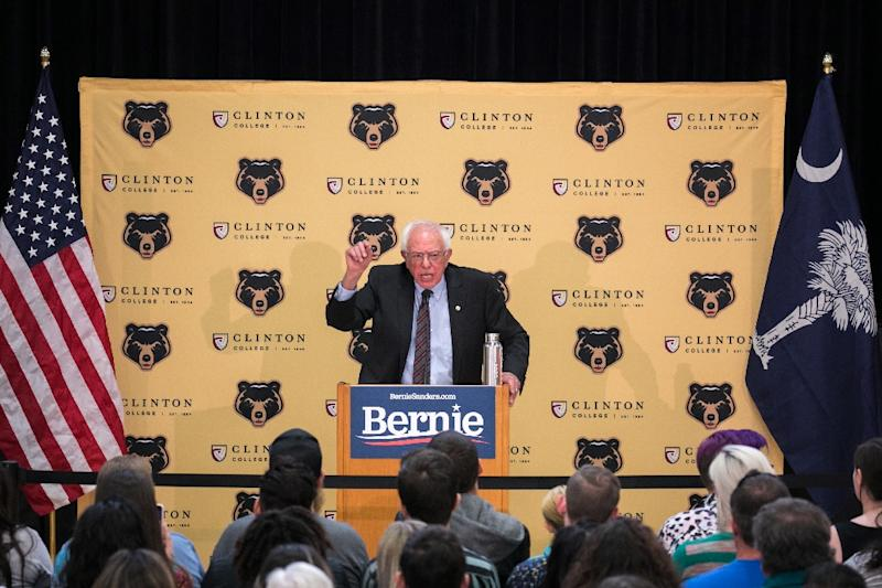 Democratic Senator and presidential candidate,  Bernie Sanders, seen here addressing a rally in South Carolina, has unveiled proposed legislation to era $1.6 trillion in student debt
