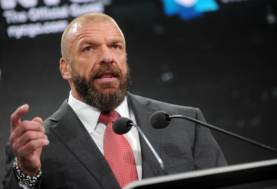 Photo by: Dennis Van Tine/STAR MAX/IPx 2018 3/16/18 Paul 'Triple H' Levesque at a News conference to officially announce that WWE's pop culture extravaganza, WrestleMania, will be returning to MetLife Stadium in April of 2019.