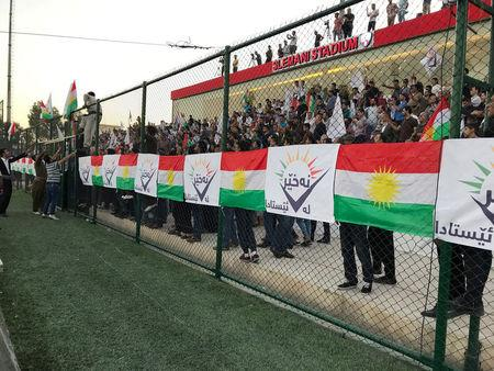 "Supporters of the ""NO For Now"" movement attend a rally calling on Iraqi Kurds to vote against the referendum, in Sulaimaniyah, Iraq September 9, 2017. Picture taken September 9, 2017. REUTERS/Raya Jalabi"