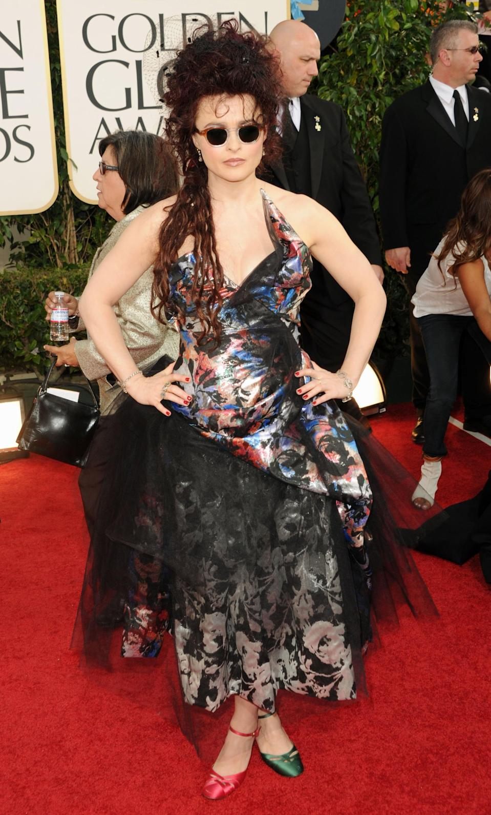 <p>Helena wore Vivienne Westwood to the 2011 Golden Globe Awards.</p>