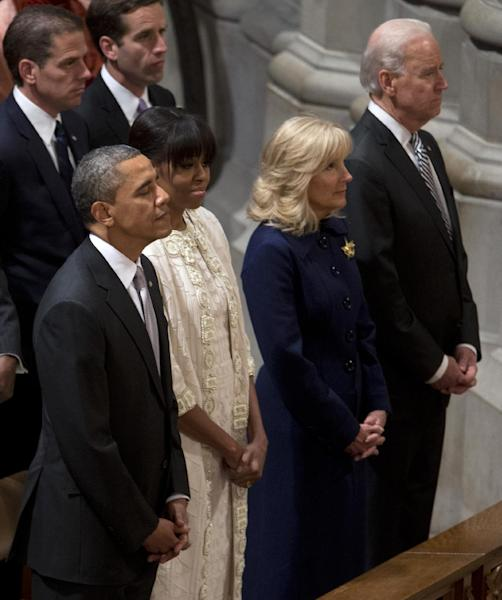 President Barack Obama, first lady Michelle Obama, Vice President Joe Biden and his wife Jill Biden, attend the Presidential Inaugural Prayer Service at the Washington National Cathedral in Washington, Tuesday, Jan. 22, 2013. The 106-year-old Episcopal church has long hosted presidential inaugural services., this one following Monday's 57th Presidential Inauguration. (AP Photo/Carolyn Kaster)