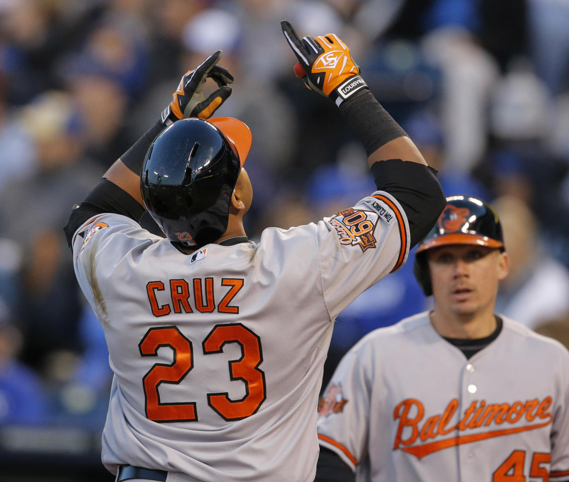 Baltimore Orioles' Nelson Cruz (23) gestures following his two-run home run off Kansas City Royals starting pitcher Yordano Ventura during the fourth inning of a baseball game at Kauffman Stadium in Kansas City, Mo., Thursday, May 15, 2014. (AP Photo/Orlin Wagner)