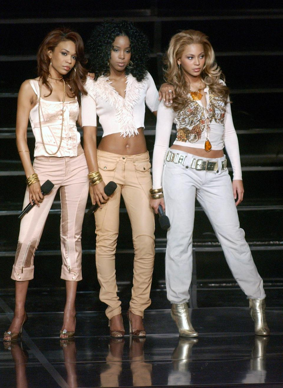 <p>At <strong>Good Morning America</strong>'s Women Rule Concert in 2004 wearing crop tops and low-slung pants. </p>