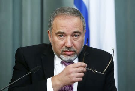 Israeli Foreign Minister Avigdor Lieberman attends a news conference after a meeting with his Russian counterpart Sergei Lavrov in Moscow