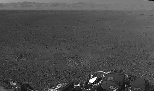 "<p>This NASA image, obtained on August 8, shows a portion of the first 360-degree panoramic view from NASA's Curiosity rover, taken with the Navigation cameras. Curiosity's second day on Mars went ""flawlessly,"" NASA said, confirming the antennas, communication links and generator on the $2.5 billion robot are all working well.</p>"