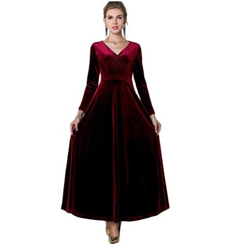 In Wine Red, the Urban CoCo Women Long Sleeve V-Neck Velvet Dress is super rich and luxe.(Photo: Amazon)