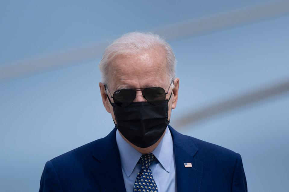 US President Joe Biden arrives to board Air Force One at Joint Base Andrews in Maryland on April 29, 2021. - President Biden travels to Georgia to mark his first 100 days in office. (Photo by Brendan Smialowski / AFP) (Photo by BRENDAN SMIALOWSKI/AFP via Getty Images)