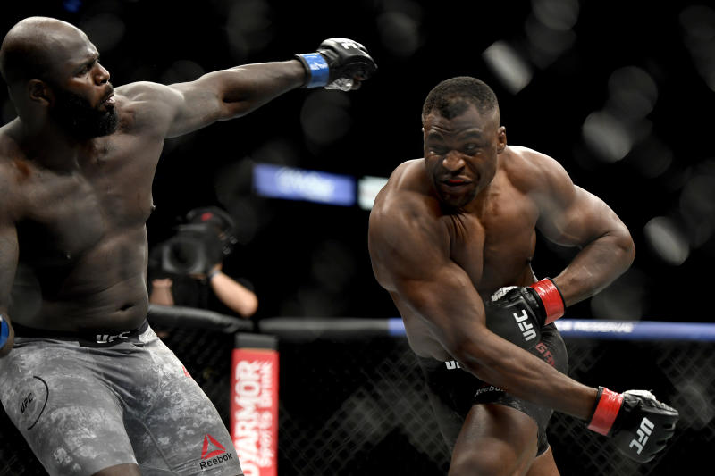 JACKSONVILLE, FLORIDA - MAY 09: Francis Ngannou (R) of Cameroon misses a punch against Jair Rozenstruik of Suriname in their Heavyweight fight during UFC 249 at VyStar Veterans Memorial Arena on May 09, 2020 in Jacksonville, Florida. (Photo by Douglas P. DeFelice/Getty Images)