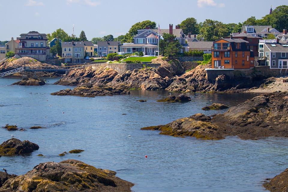 View of the rocky harbor and town of Marblehead, Massachussetts, USA.