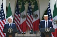 US President Donald Trump and Mexican President Andres Manuel Lopez Obrador in the Rose Garden of the White House