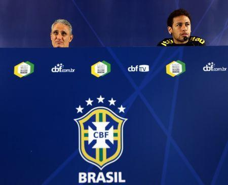 Brazil's national soccer team news conference - World Cup 2018 Qualifiers - Arena Corinthians stadium, Sao Paulo, Brazil - 27/3/17. Head coach Tite (L) and Neymar attend a news conference. REUTERS/Paulo Whitaker
