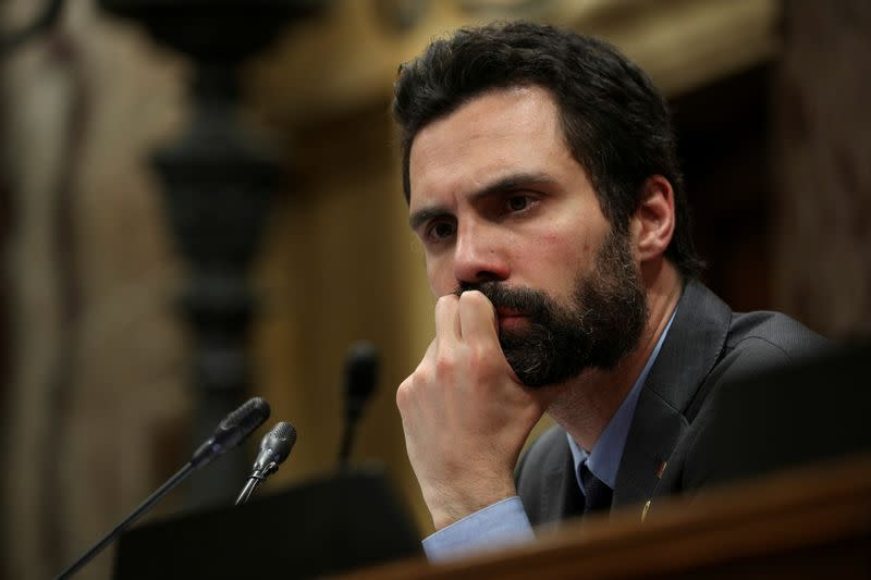 FILE PHOTO: Catalan parliament speaker Roger Torrent looks on during a debate in the regional parliament in Barcelona