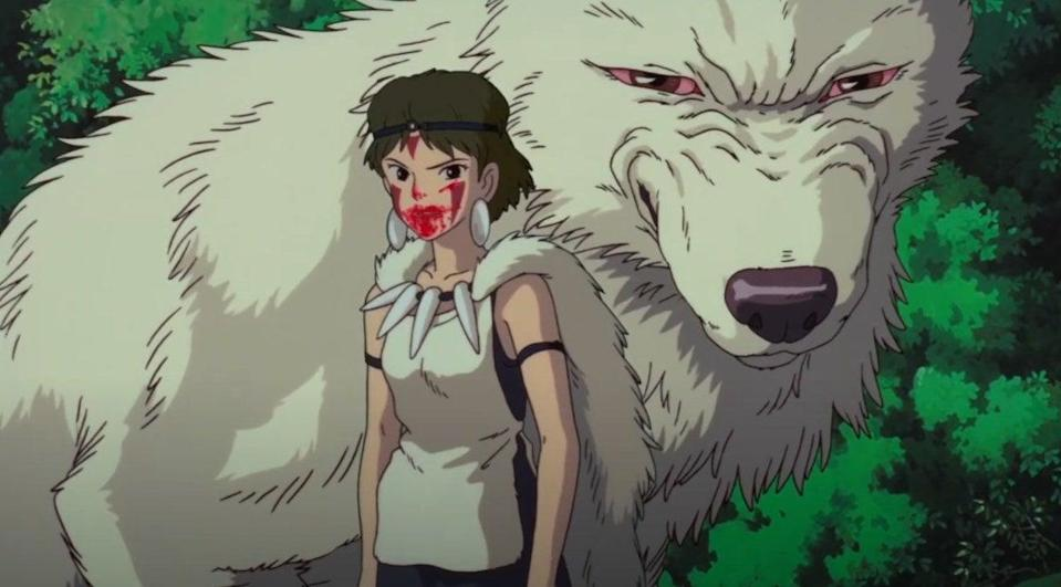 A girl dressed in white with blood smeared around and on her mouth. An angry wolf standing behind her stares at us