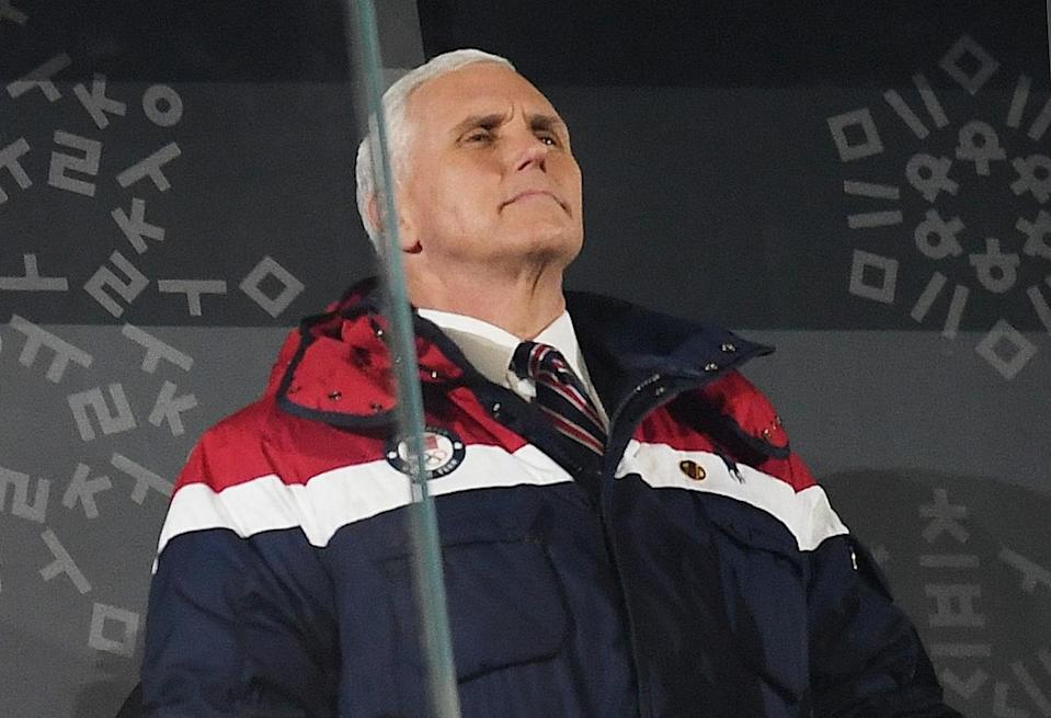 <p>Mike Pence looks on during the Opening Ceremony of the PyeongChang 2018 Winter Olympic Games at PyeongChang Olympic Stadium on February 9, 2018 in Pyeongchang-gun, South Korea. (Photo by Matthias Hangst/Getty Images) </p>
