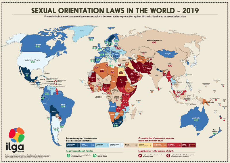 The more red the country, the more grave the penalties for being LGBTQ. (Source: ILGA World)