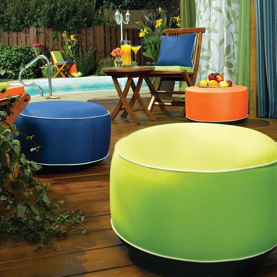 <p>Add some extra seating and bright colors to your patio with this <span>Outdoor Decor Splash N Dash Inflatable Indoor / Outdoor Pouf</span> ($30).</p>