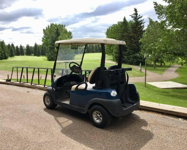 A golf cart is shown at a course in Edmonton. The golf carts stolen from Eden Golf and Country Club in West Paradise, N.S., are made by Yamaha and are blue, green and black. (Adrienne Lamb/CBC - image credit)