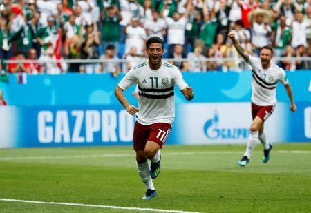 Soccer Football - World Cup - Group F - South Korea vs Mexico - Rostov Arena, Rostov-on-Don, Russia - June 23, 2018 Mexico's Carlos Vela celebrates scoring their first goal REUTERS/Jason Cairnduff TPX IMAGES OF THE DAY - RC16E85F0F60