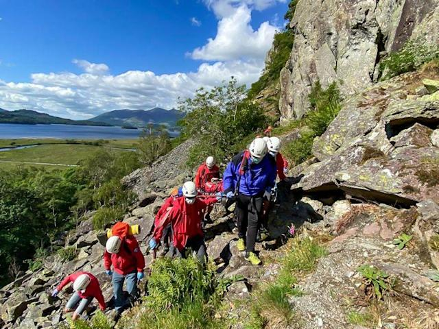 The teenage climber was carried to safety. (Keswick Mountain Rescue Team)