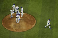 Los Angeles Dodgers relief pitcher Dylan Floro leaves the game against the Tampa Bay Rays during the third inning in Game 2 of the baseball World Series Wednesday, Oct. 21, 2020, in Arlington, Texas. (AP Photo/David J. Phillip)