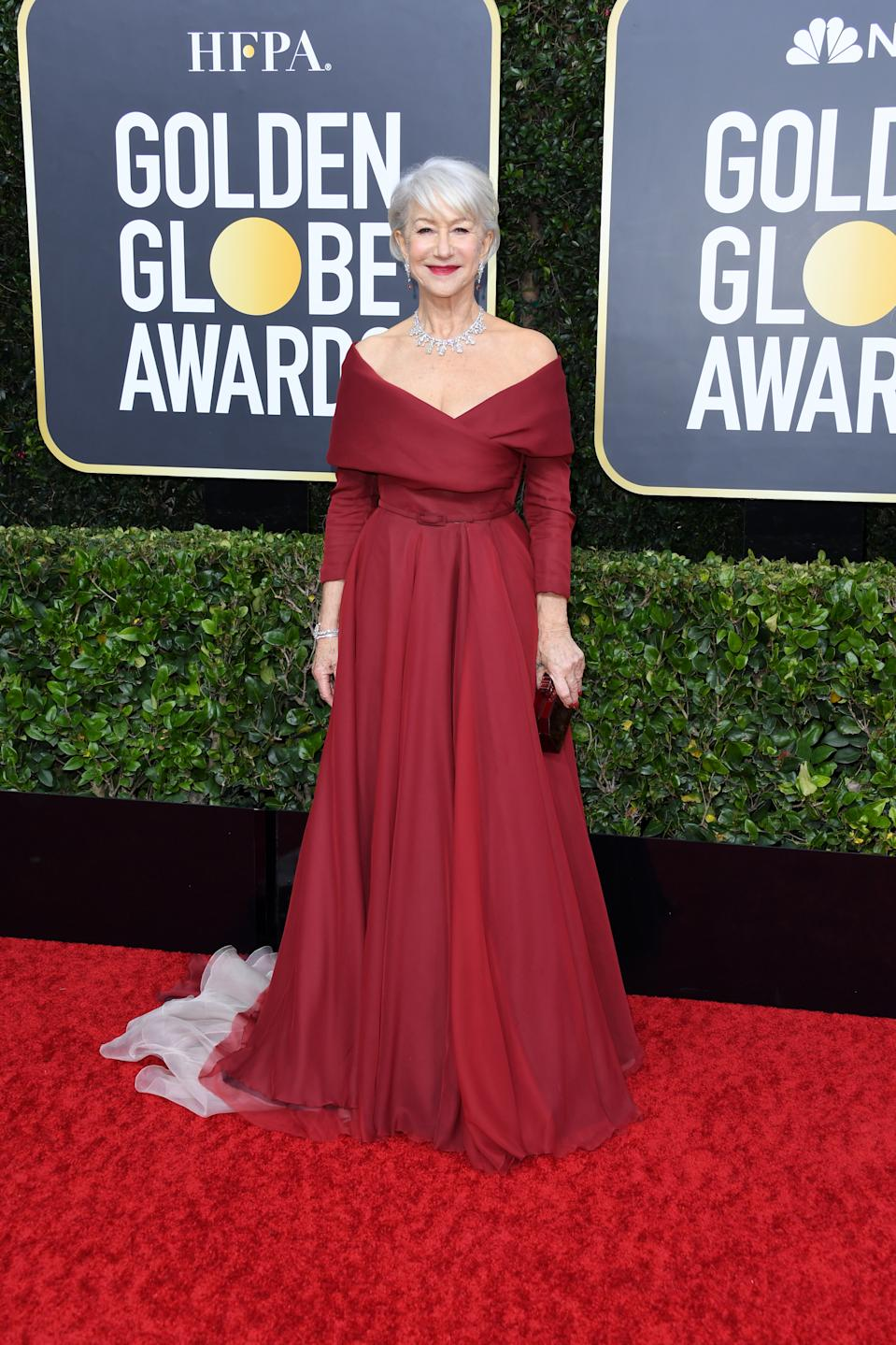"""A red carpet favourite, the nominee for her starring role in """"Catherine the Great"""" looked regal in an off-the-shoulder gown. (Photo by Jon Kopaloff/Getty Images)"""