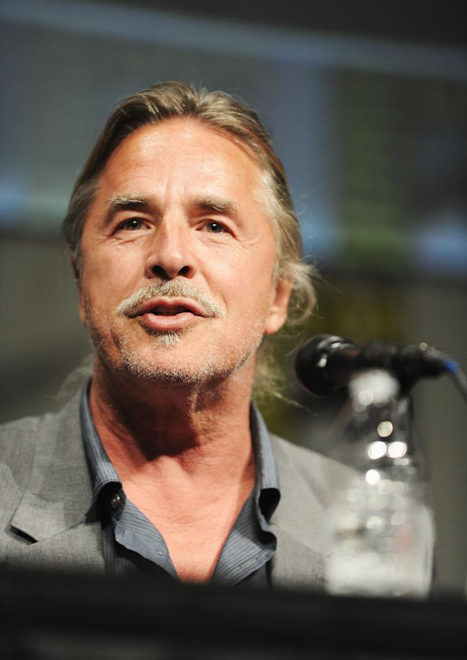 "SAN DIEGO, CA - JULY 14:  Actor Don Johnson speaks at the ""Django Unchained"" panel during Comic-Con International 2012 at San Diego Convention Center on July 14, 2012 in San Diego, California.  (Photo by Albert L. Ortega/Getty Images)"