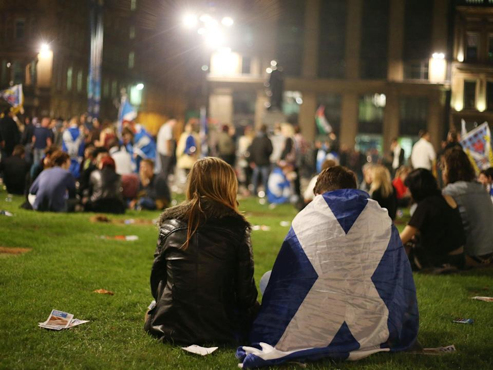 Dejected Yes voters in Glasgow on the night of the 2014 referendumPA